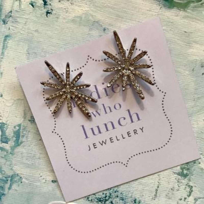 Crystal diamonte star earrings