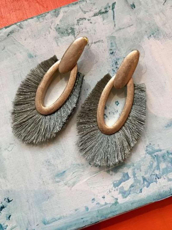 Mint fringe earrings