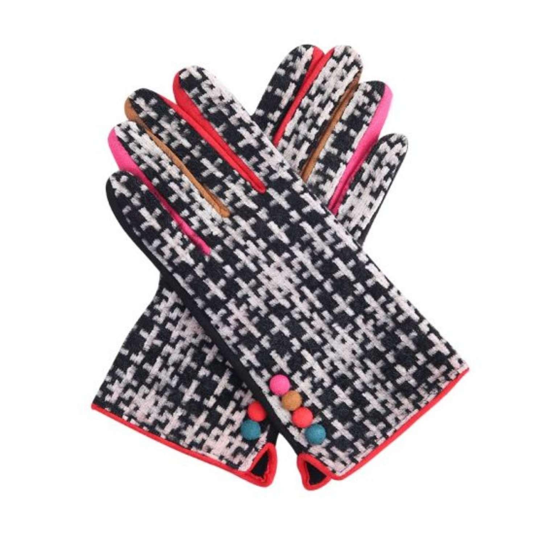 Black tartan gloves