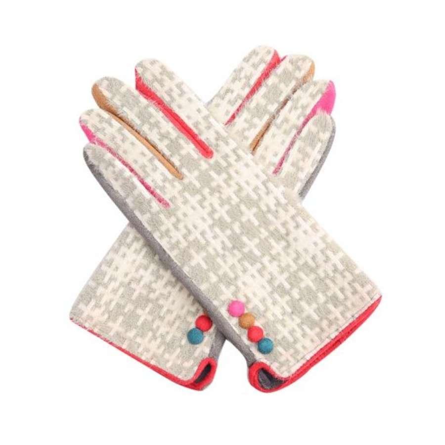 Silver tartan gloves