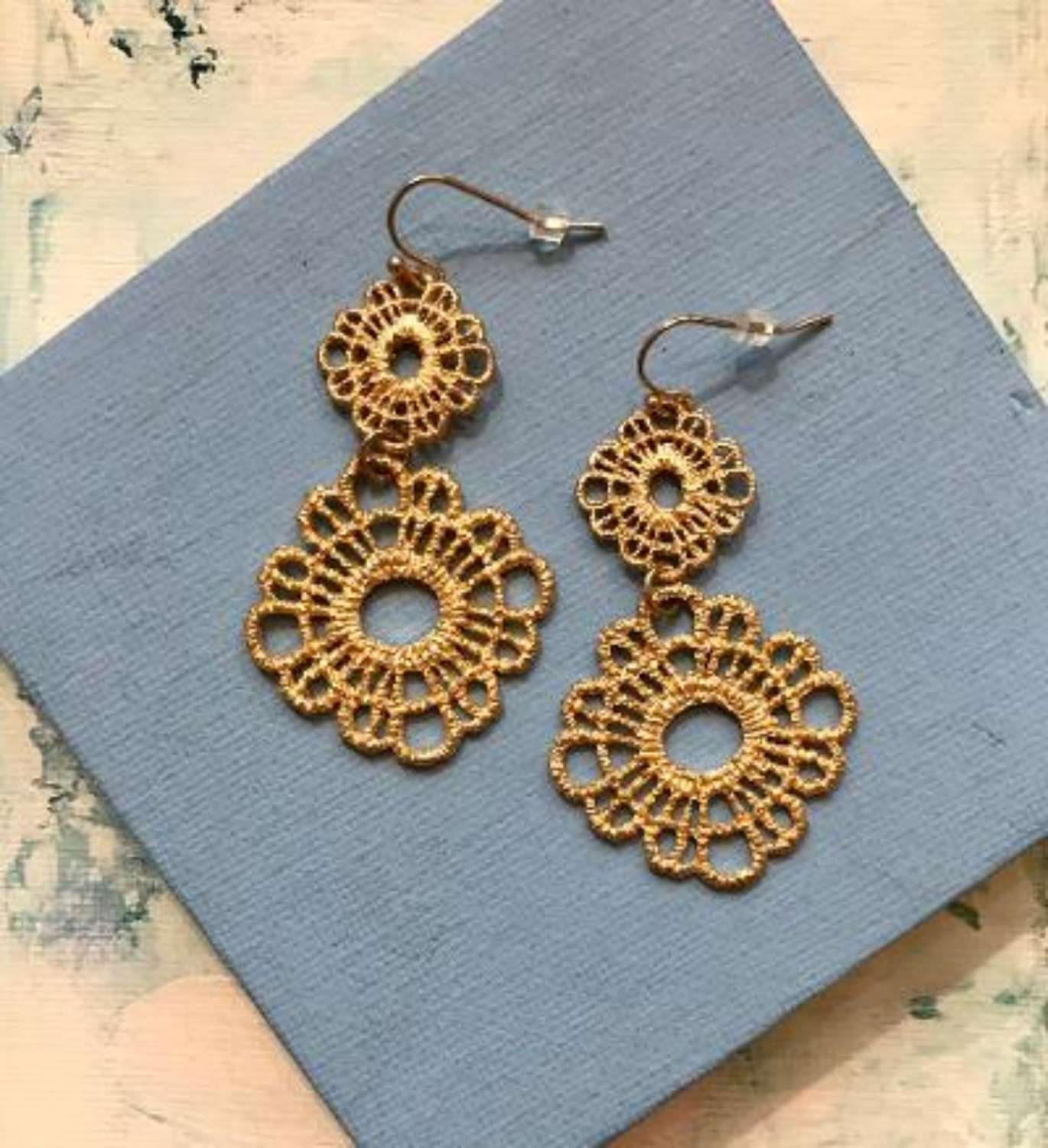 Gold lace flower earrings