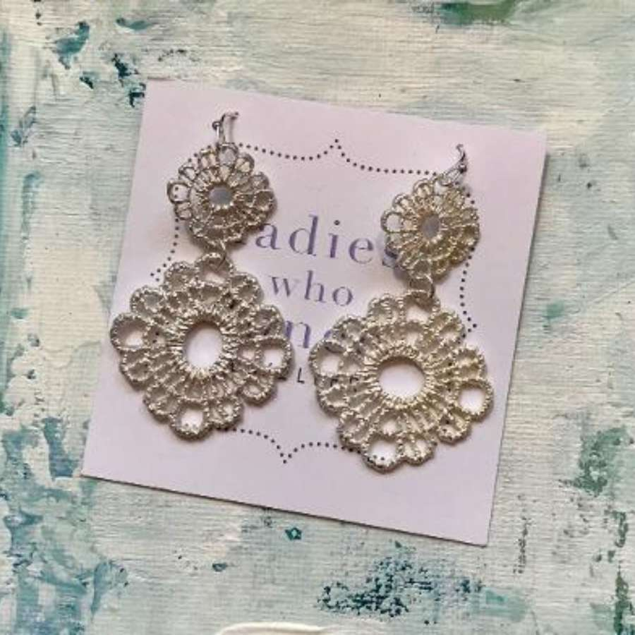 Silver lace flower earrings