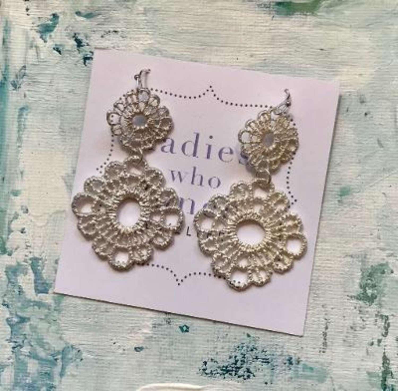 Silver lace flower earrings