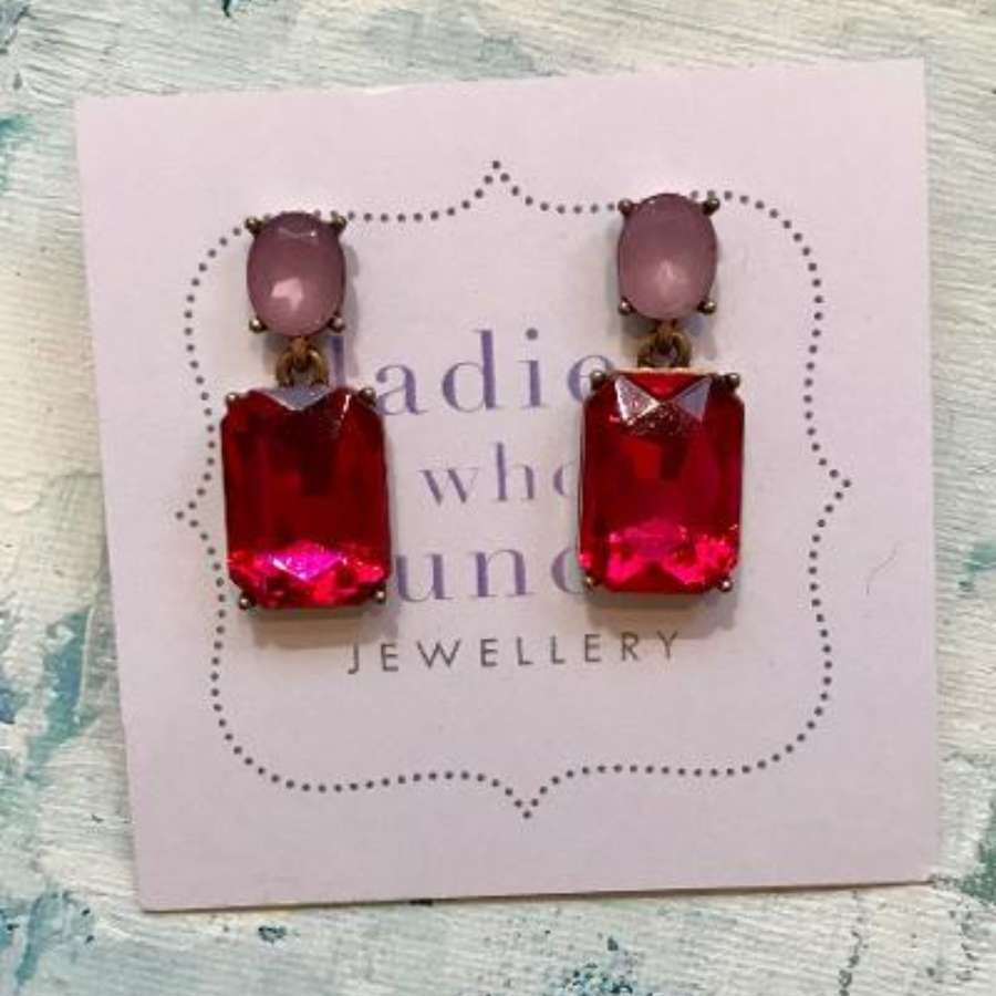 Fuchsia vintage style earrings