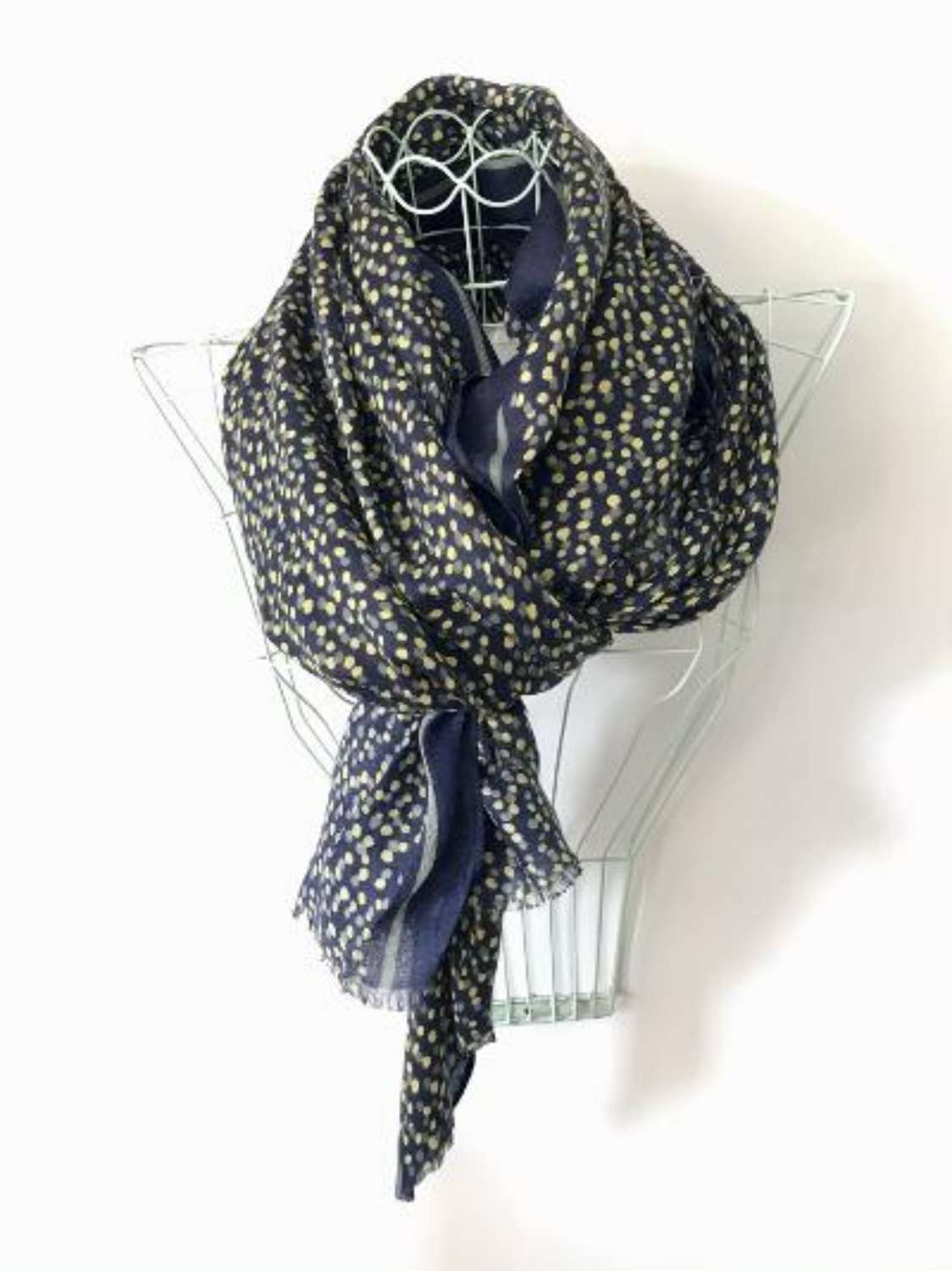 Green and navy spot scarf
