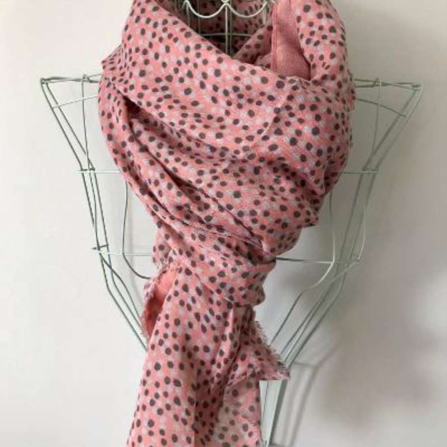 Pink and grey spot scarf