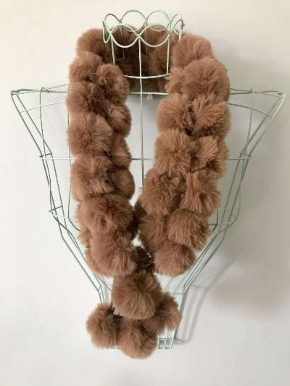Faux fur bobble scarf - taupe