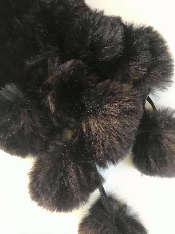 Faux fur bobble scarf - black
