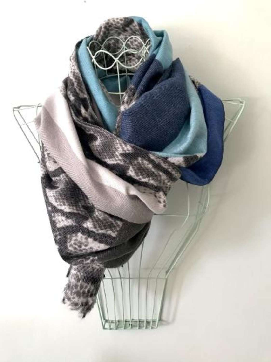Blues and animal print blanket scarf
