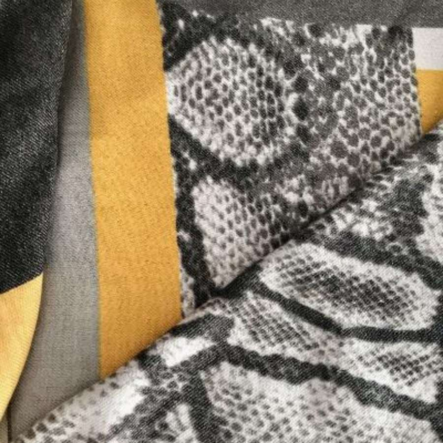 Mustard and animal print blanket scarf