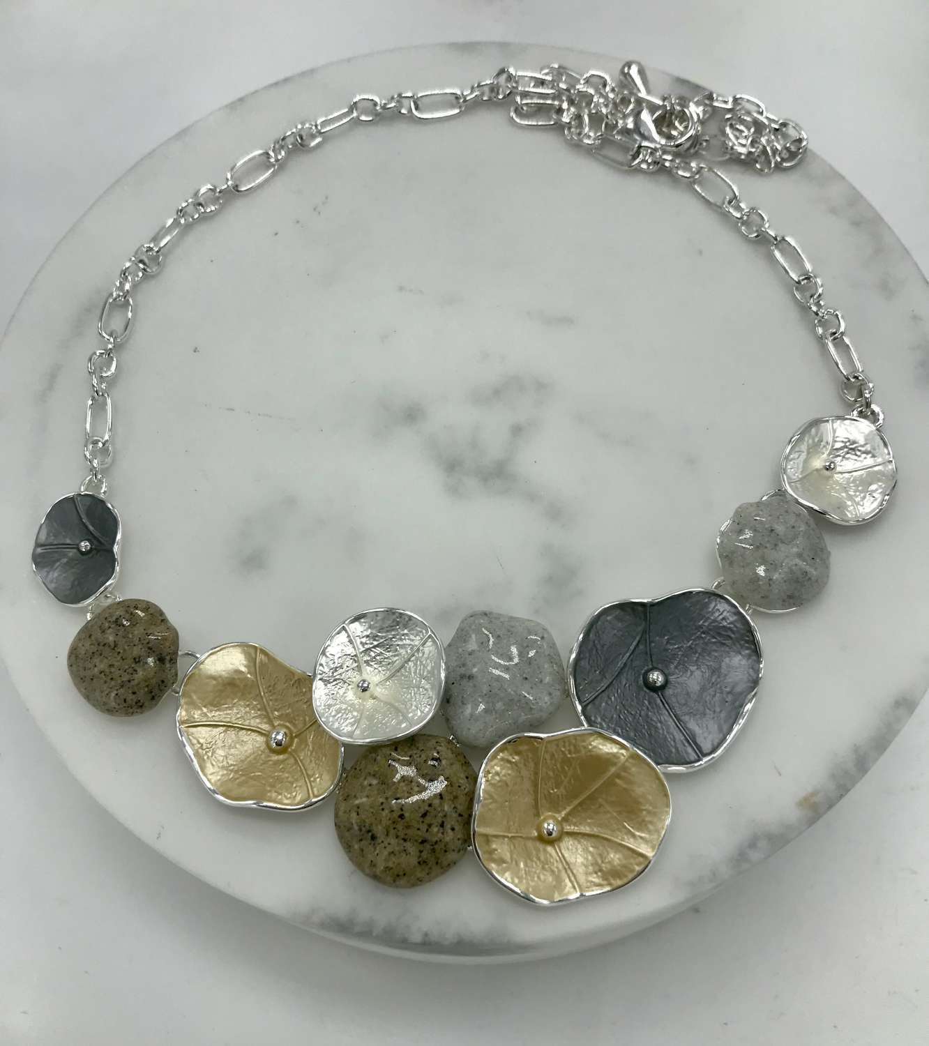 Mixed metals and stones necklace
