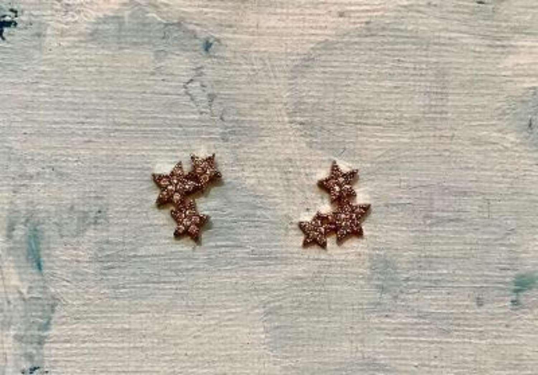 Delicate triple star diamonte earrings