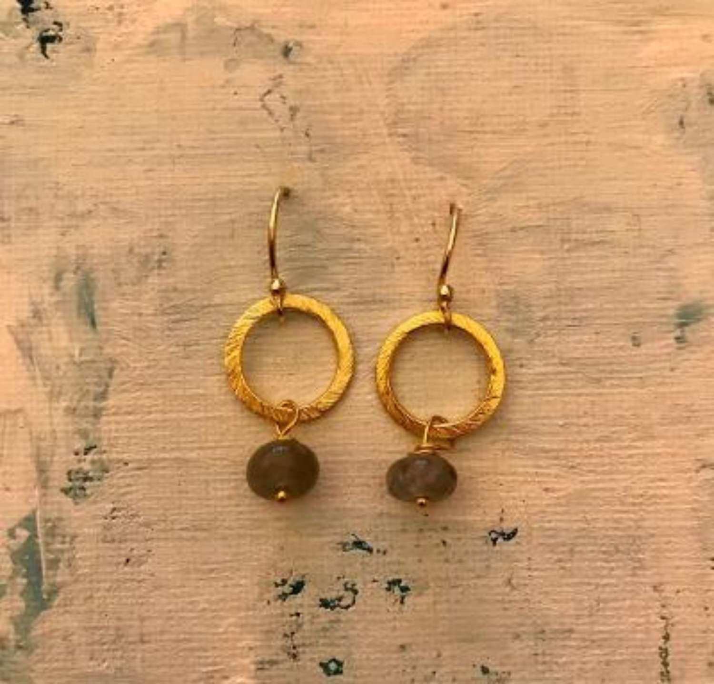 Lydia earrings - gold/grey