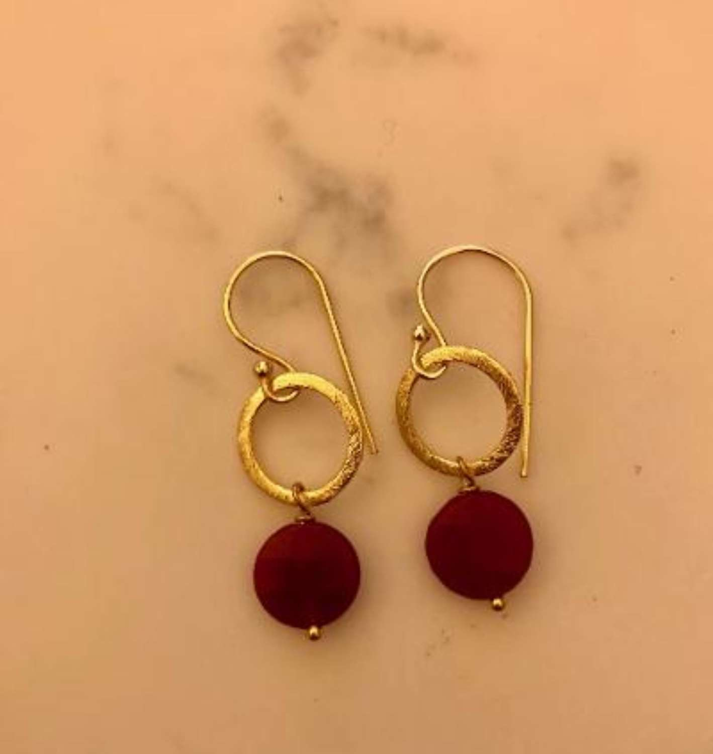 Lydia earrings - gold/red