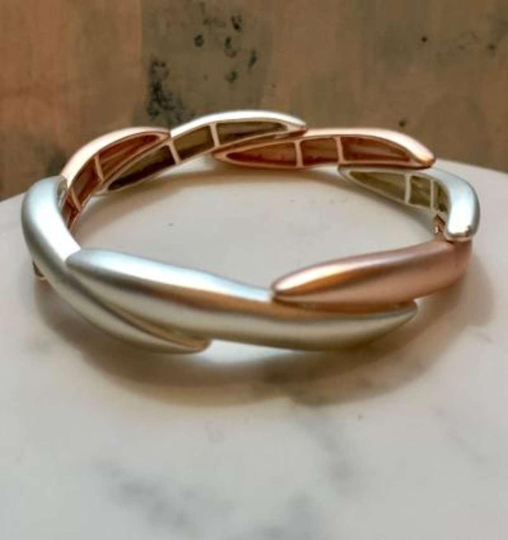 Rose gold and silver overlap stretch bracelet