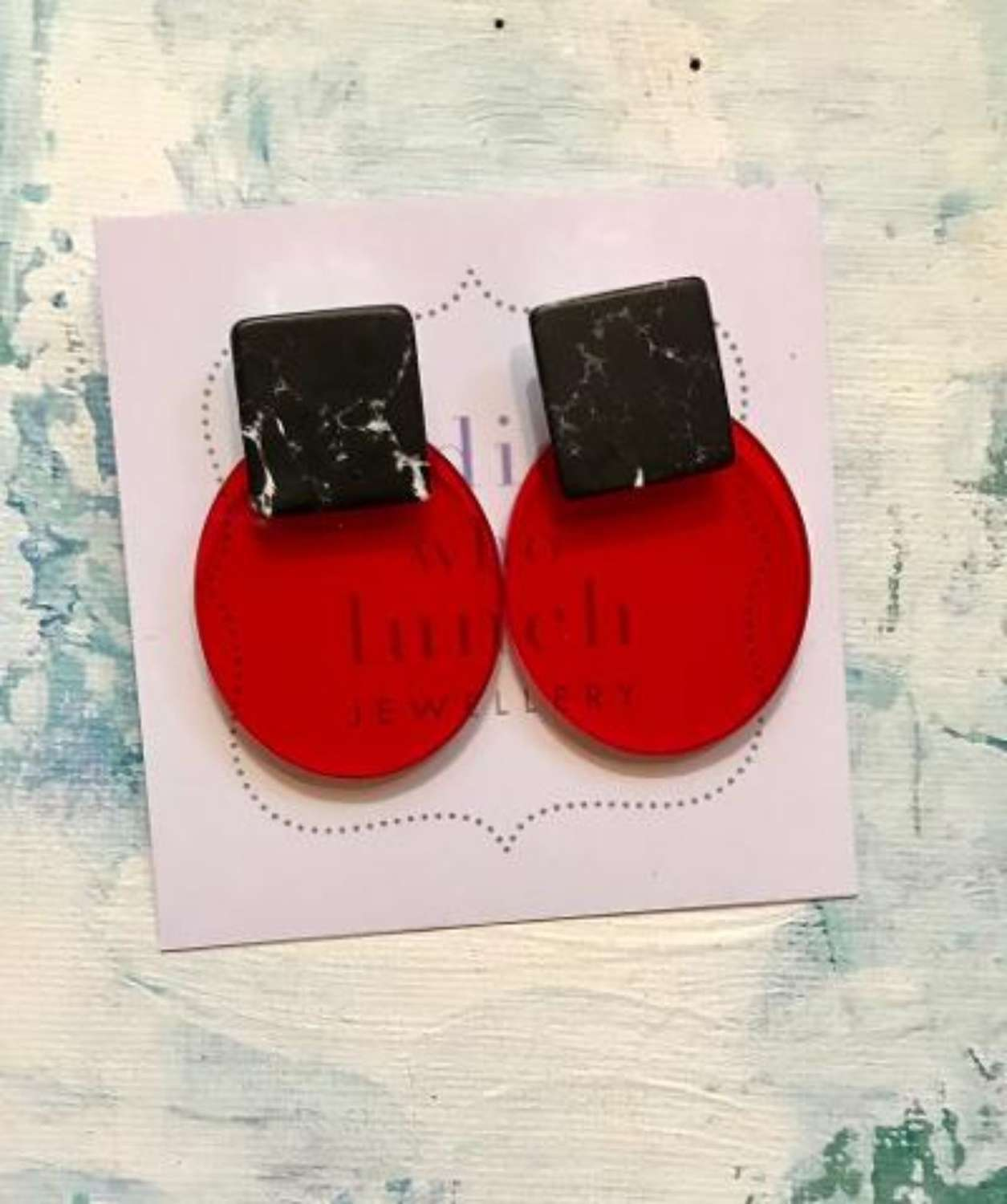 Red and black resin earrings