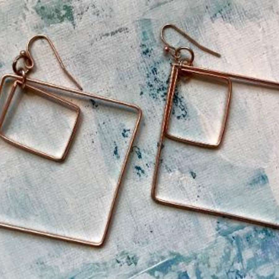 On an angle rose gold Earrings