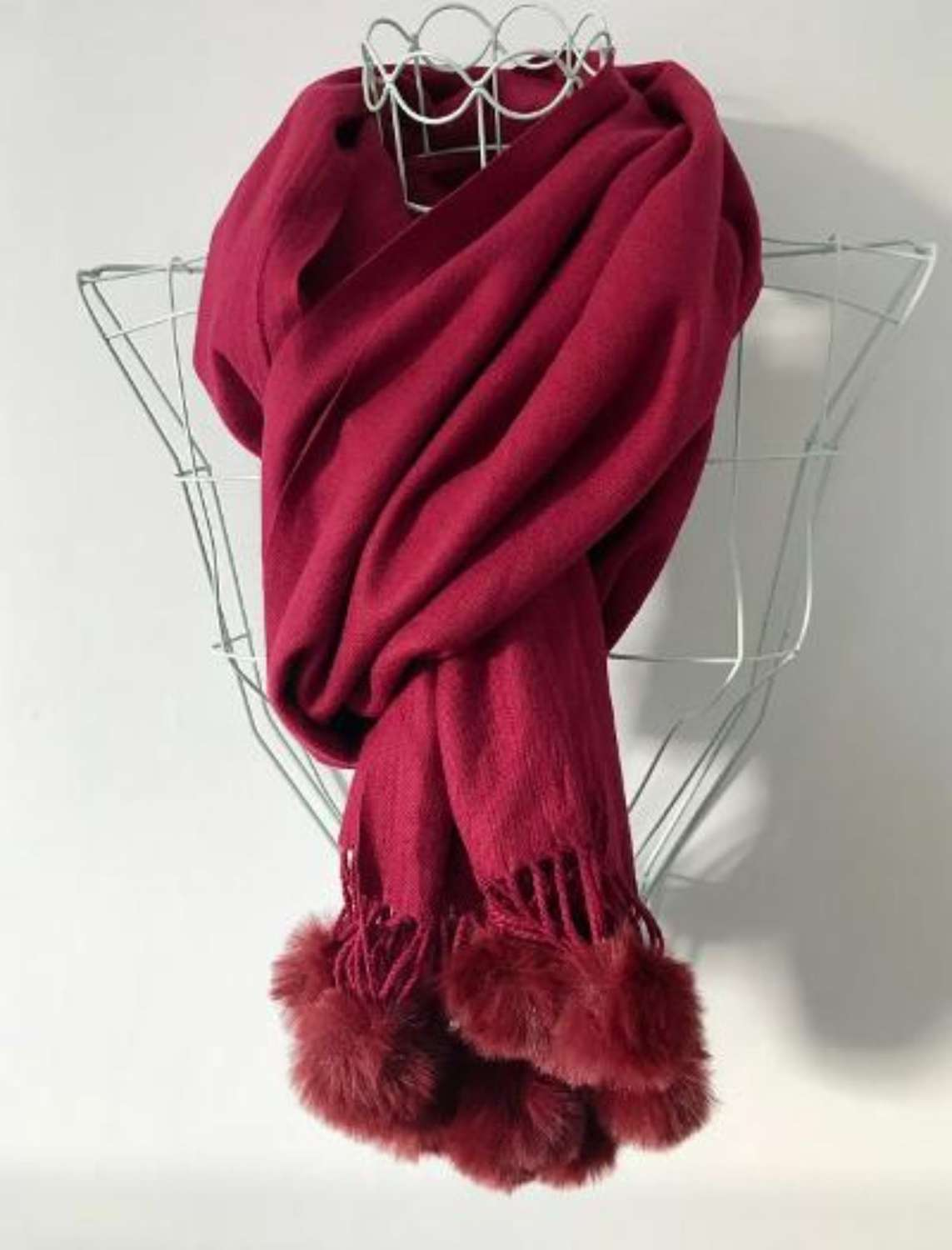 Soft wine scarf with faux fur bobbles