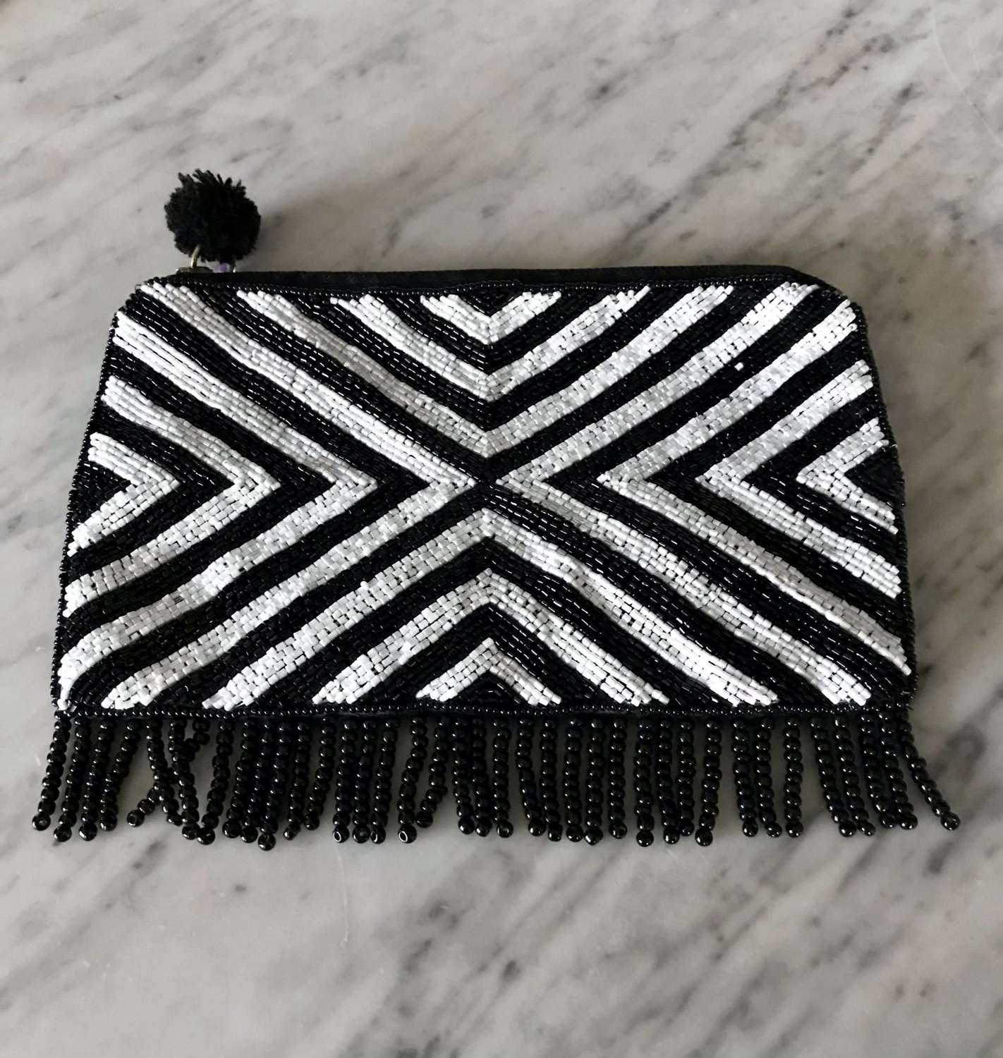 Beaded black and white purse