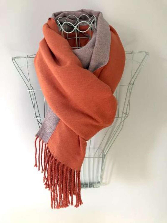 Luxurious reversible scarf/wrap - orange/taupe