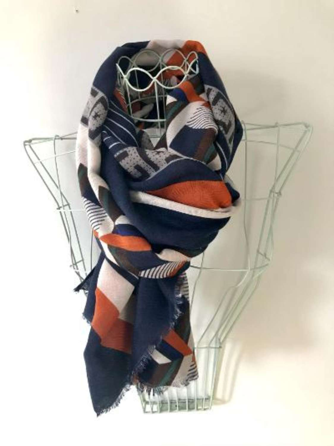 Blue orange abstract scarf