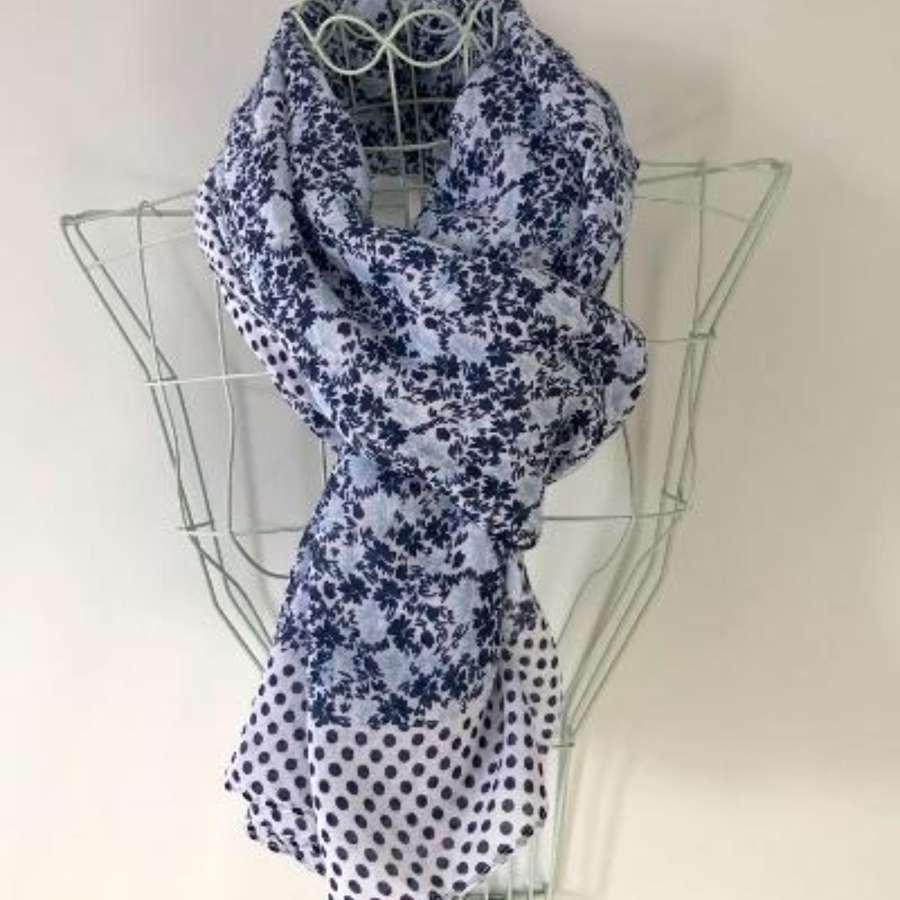 Blue spotty and flower scarf