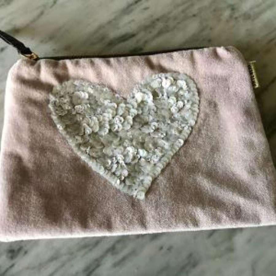 Heart velvet purse