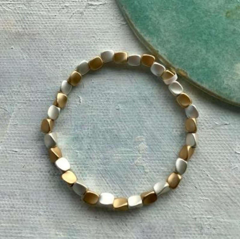 Matt gold and silver bracelet