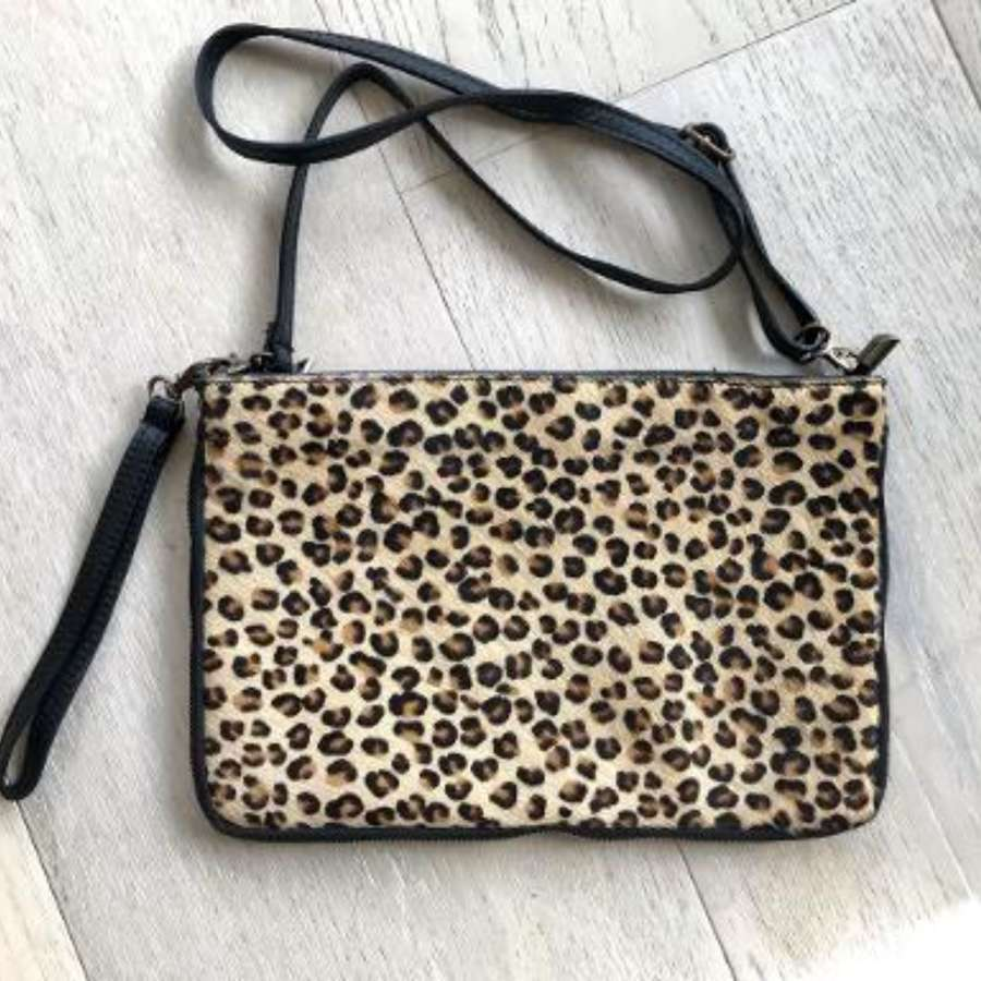 Leather animal print bag large - leopard print