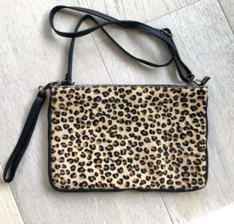 Leather animal print bag large - leopard print