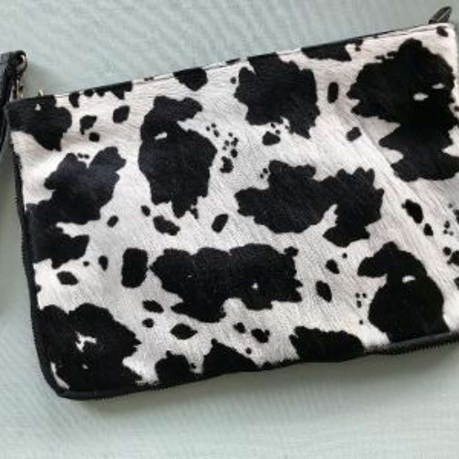 Leather animal print bag large - zebra print