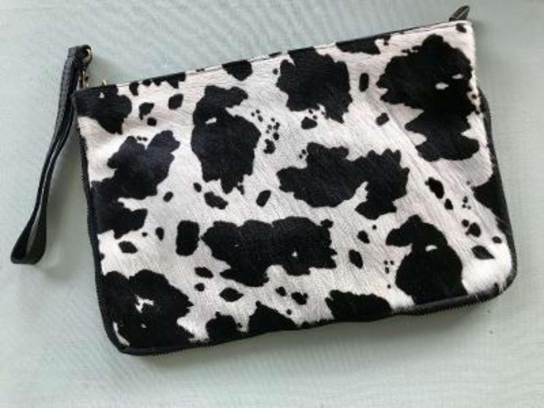 Leather animal print bag large - zebra print