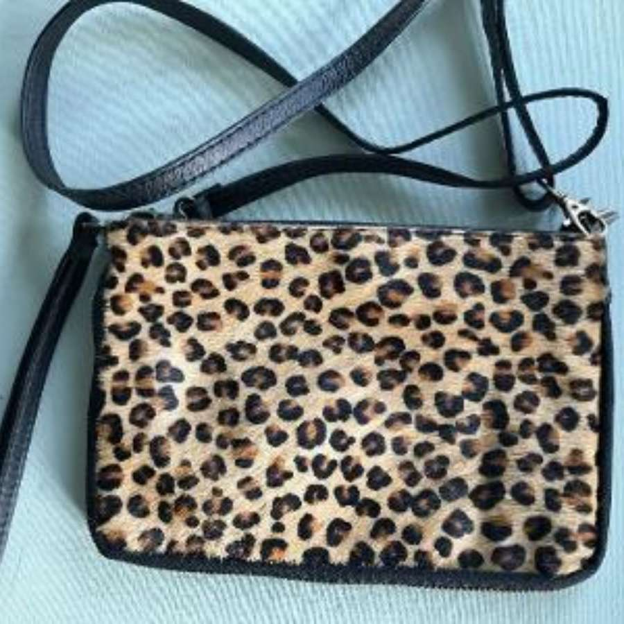 Leather animal print bag small - leopard print