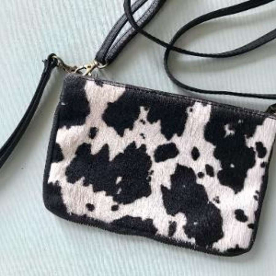 Leather animal print bag small - zebra print