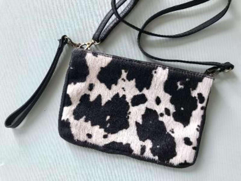 Leather animal print bag small - zebra print