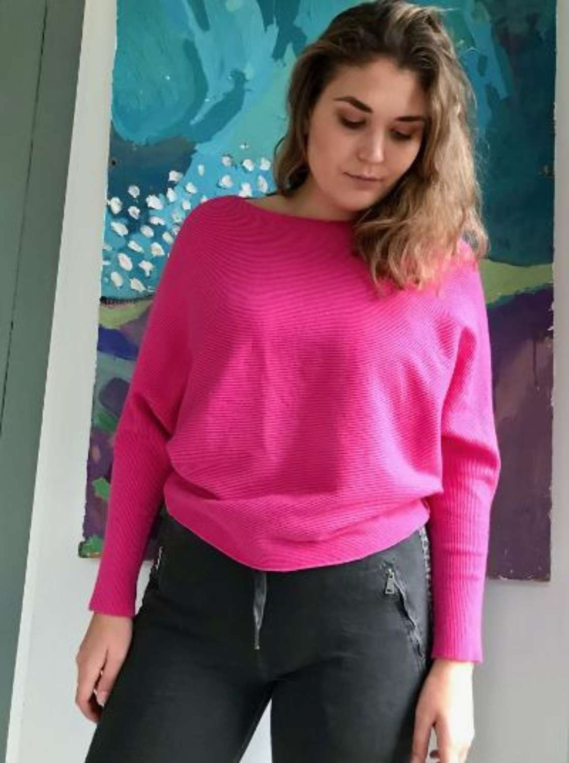 Candy pink batwing jumper