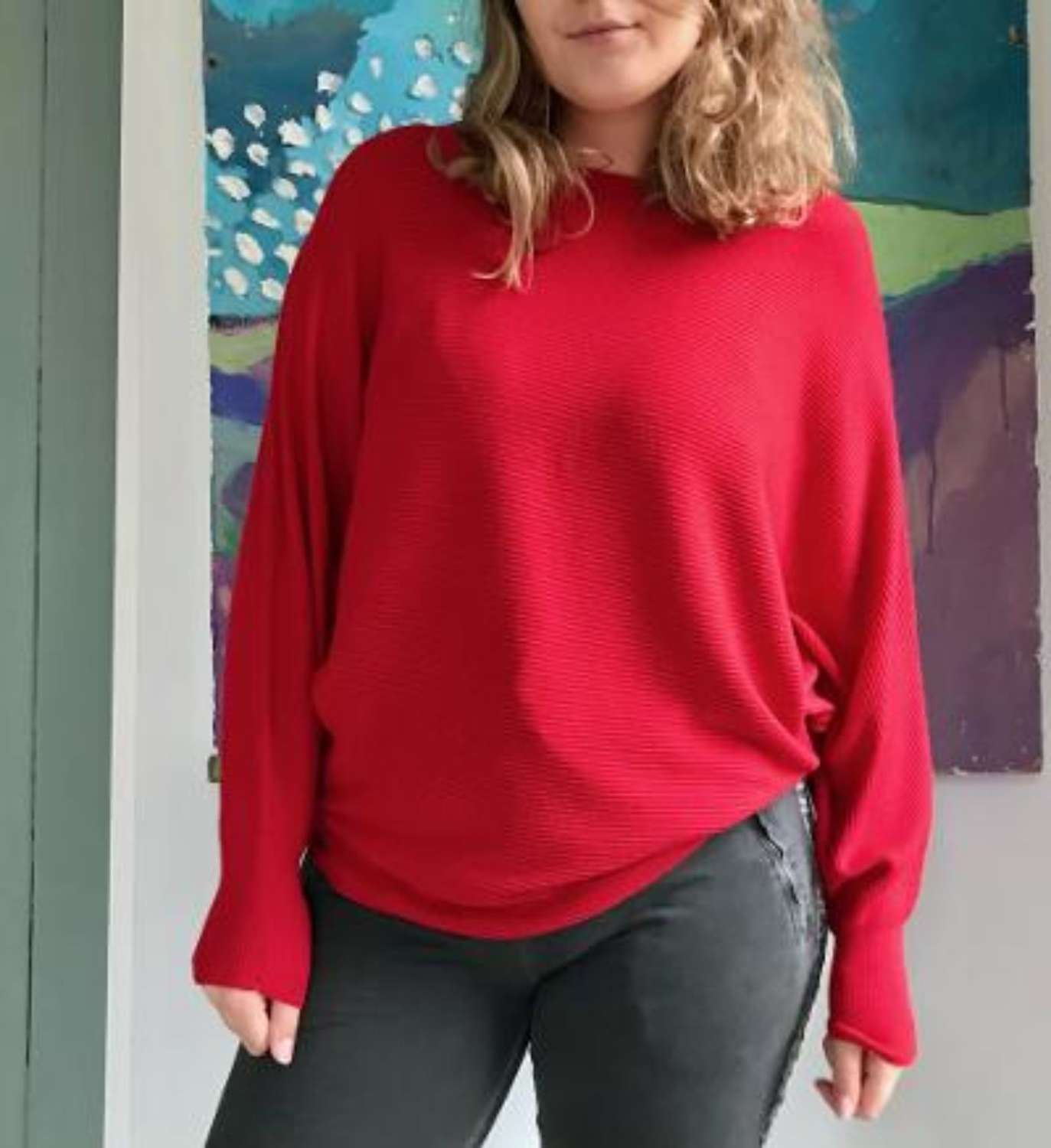 Red Batwing jumper