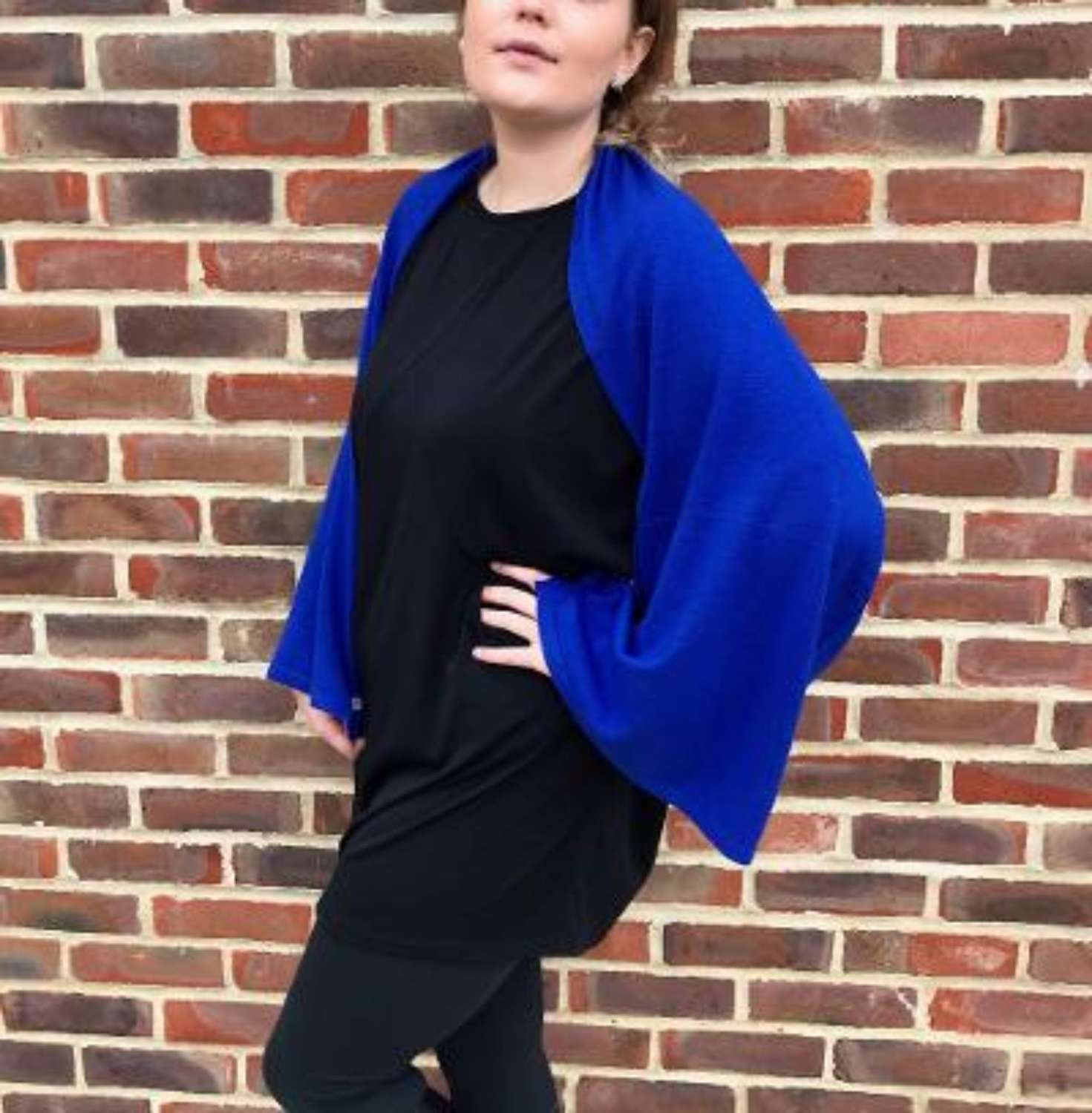 Button poncho - royal blue
