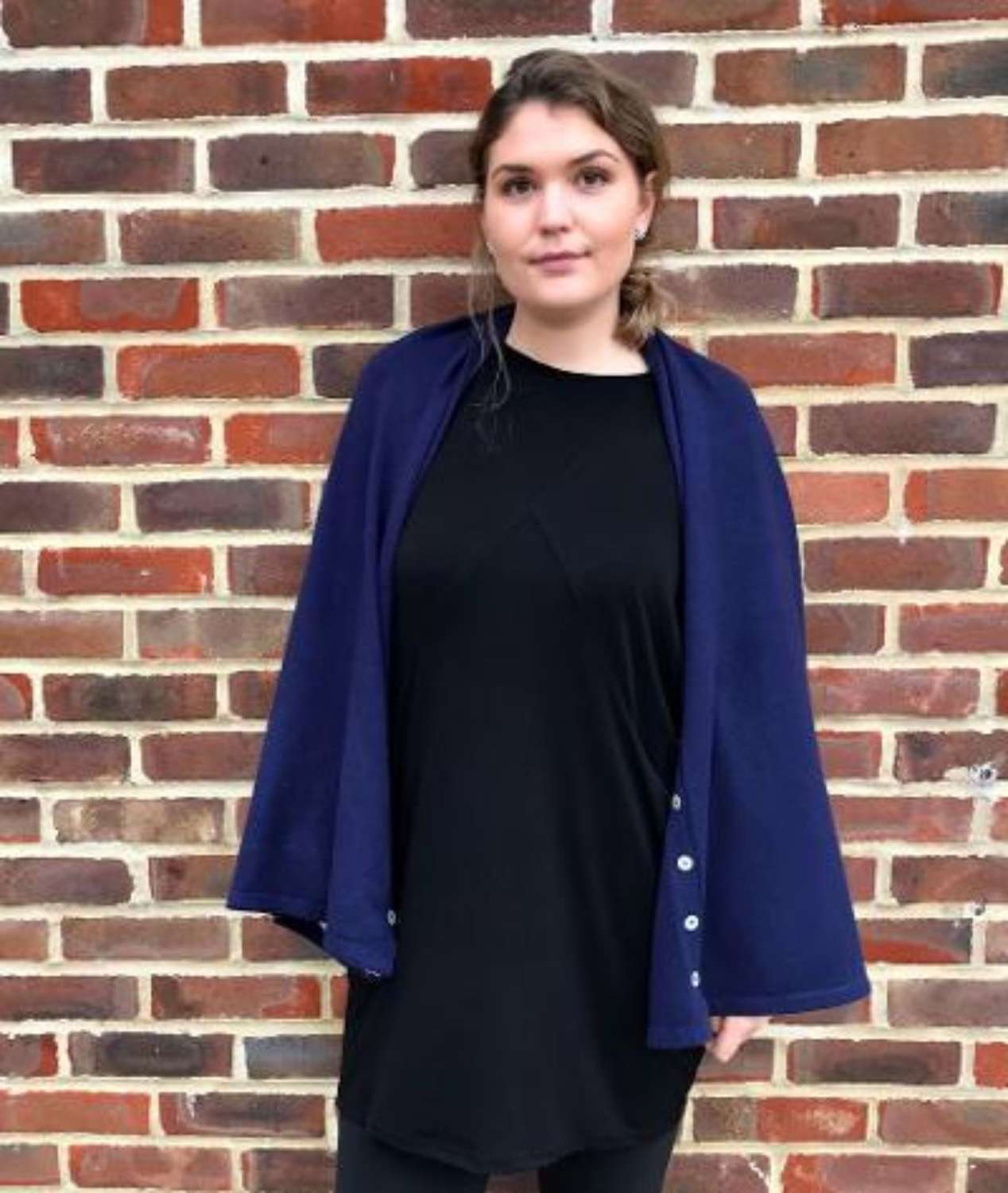 Button poncho - navy