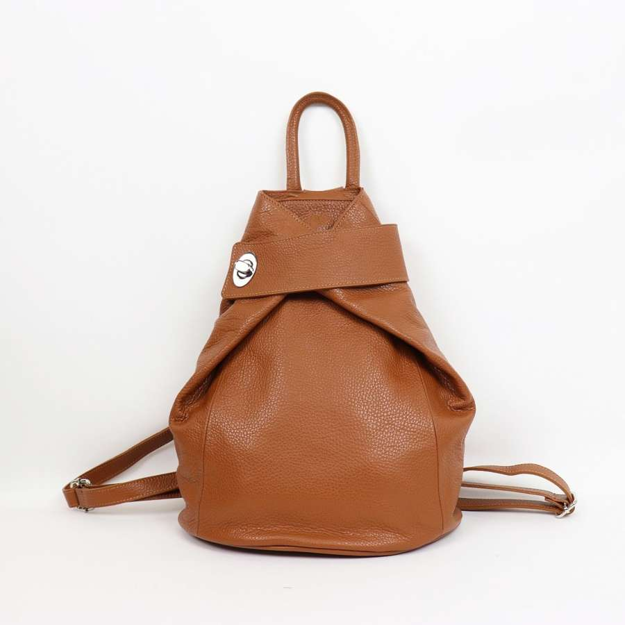 Italian leather rucksack - tan
