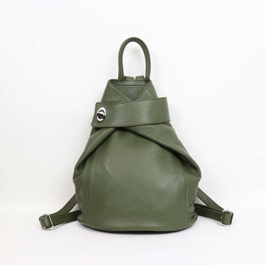 Italian leather rucksack - olive
