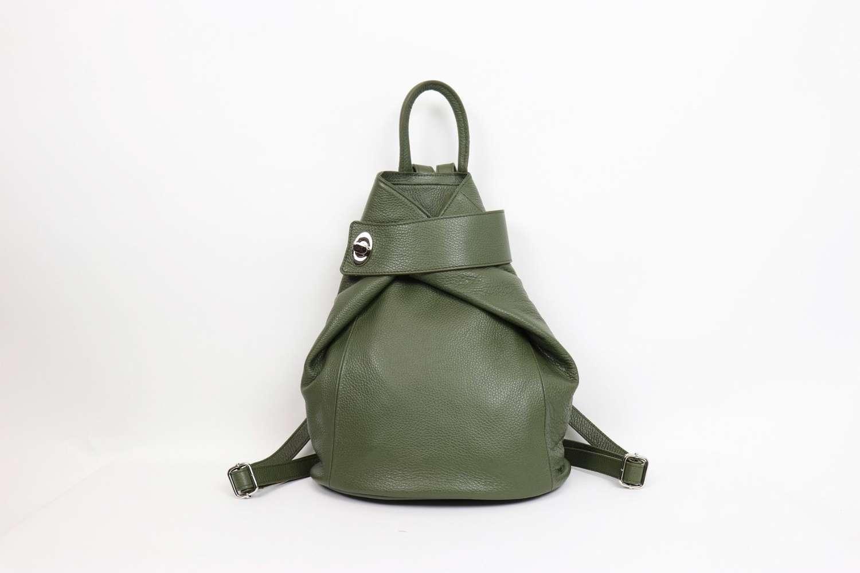 Italian leather rucksack - olive
