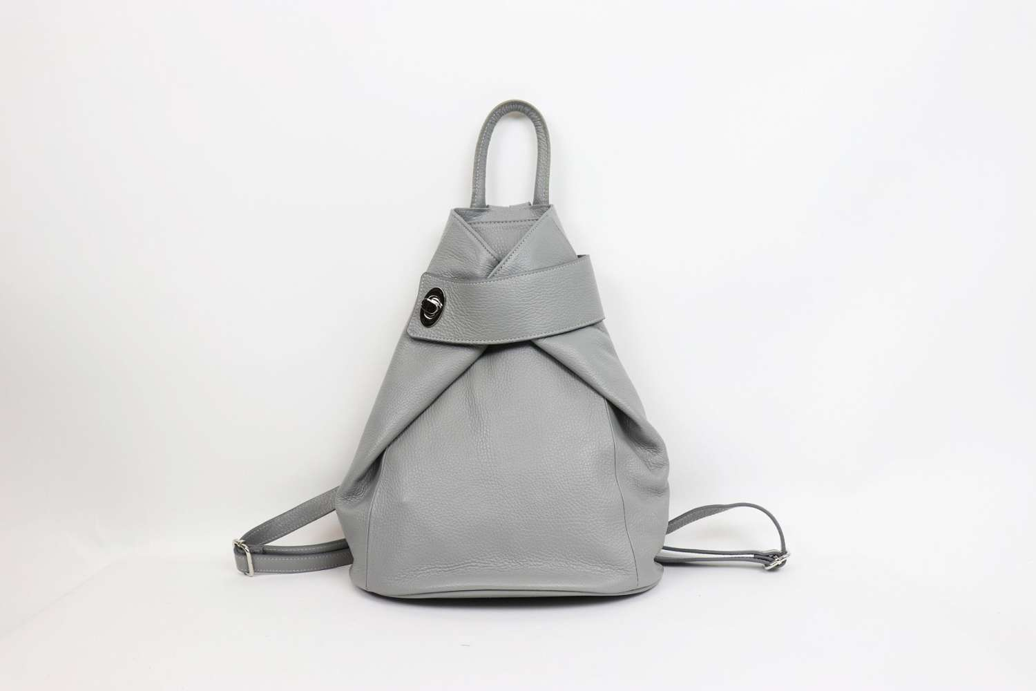 Italian leather rucksack - light grey