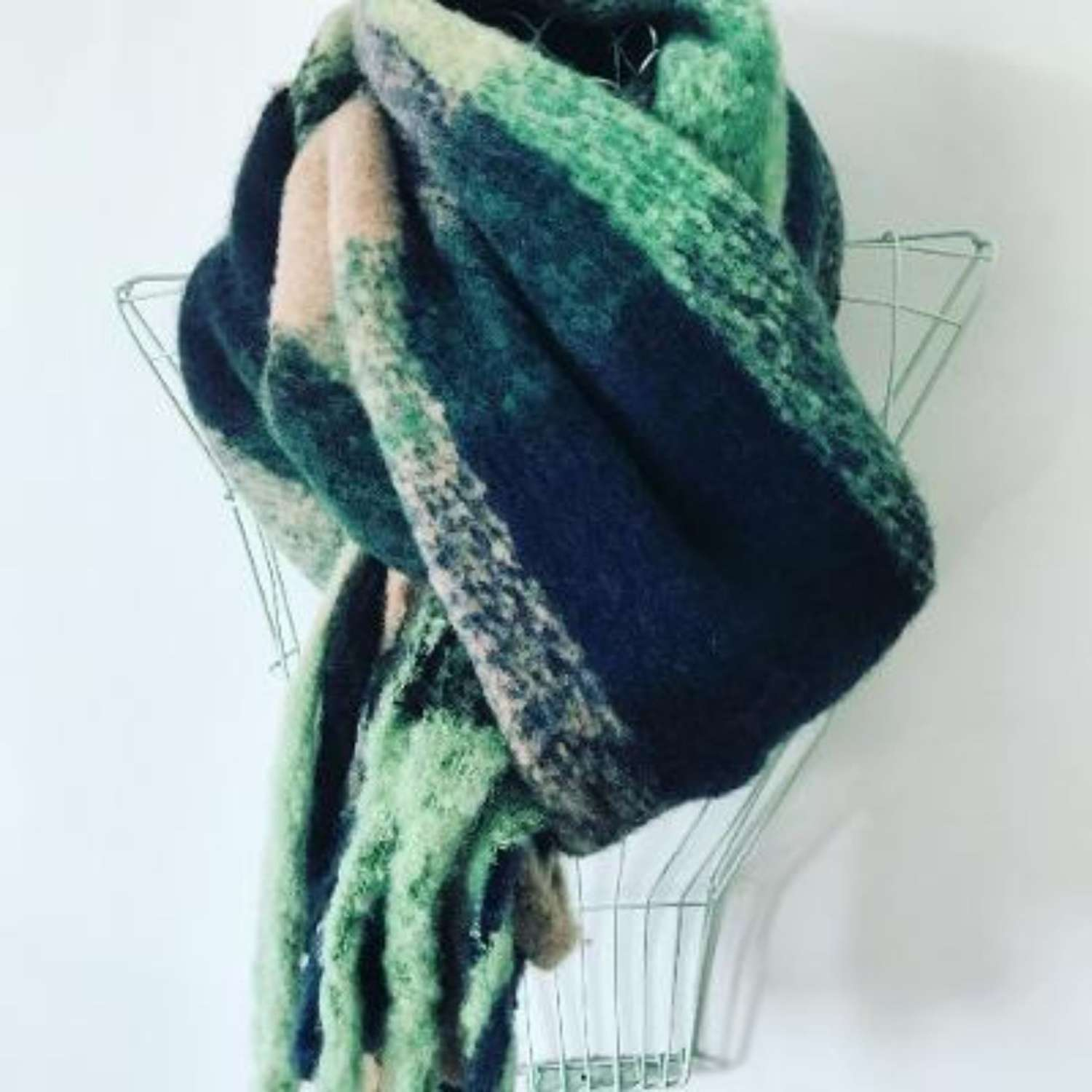 Teal/green/navy winter scarf