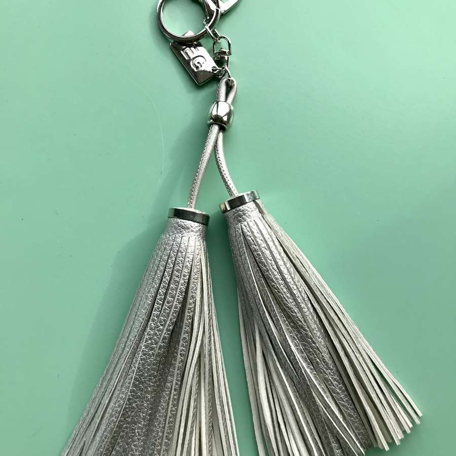 Grey leather keyring