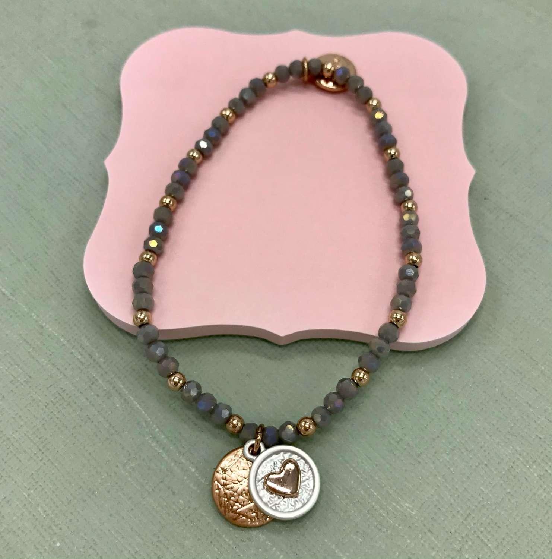 Rose gold/grey heart stretch bracelet