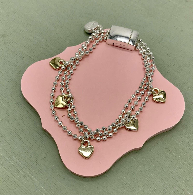 Triple layer heart bracelet
