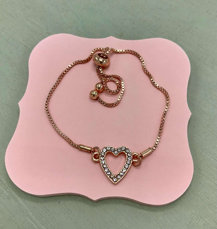 Rose gold crystal heart friendship