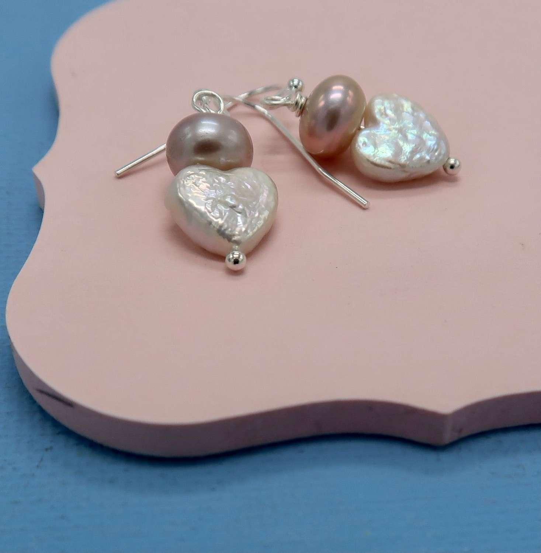 Pearl heart Sally earrings