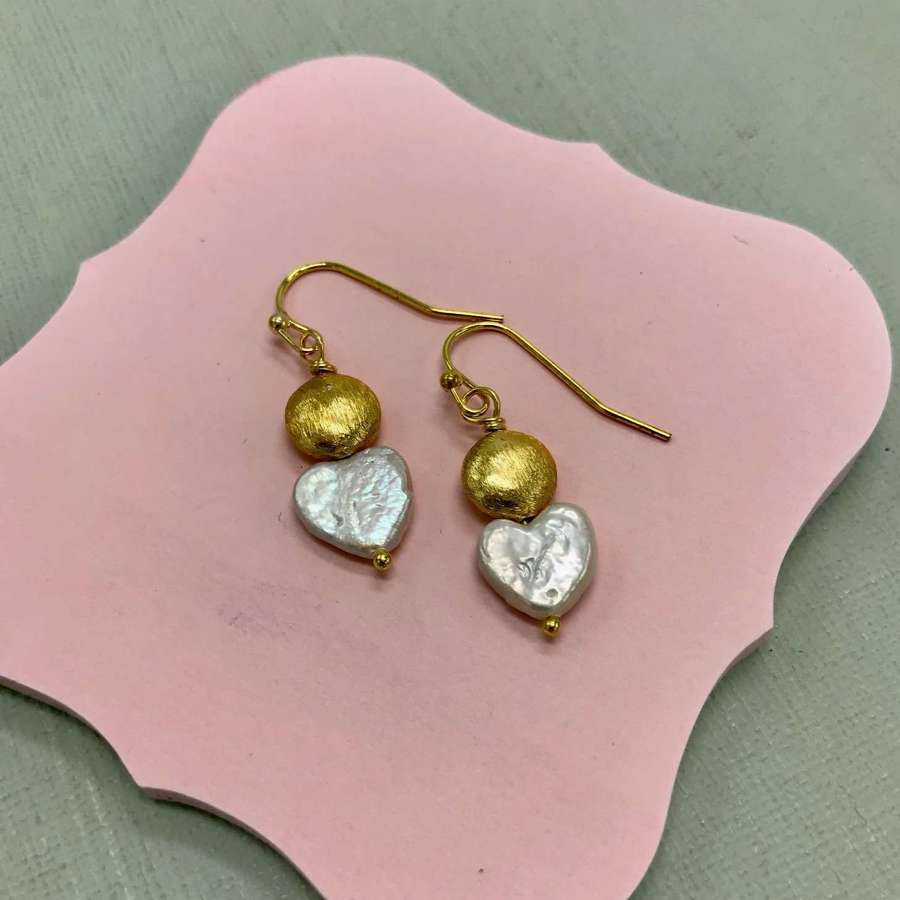 Pearl heart and gold nugget Sally earrings